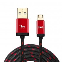 〈iSee〉Micro USB鋁合金編織充電/資料傳輸線2.2米 (IS-C76)