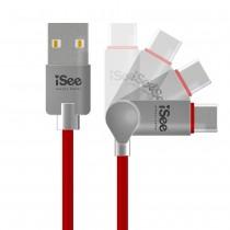 〈iSee〉Type-C轉USB A可彎折鋁合金充電傳輸線1.2米 (IS-CA57)