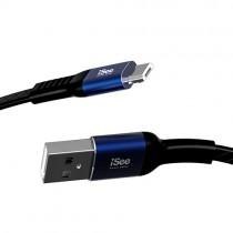 〈iSee〉Micro-B鋁合金扁平菱格紋充電/資料傳輸線 1米(IS-C66)